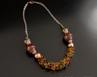 Rose Gold Beaded Necklace with Dark Amber, Topaz, Green Textured Wire Crocheted Drops, Copper, Large Ceramic and Glass Beads. S272
