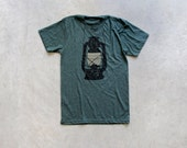 Night Scouting - mens t shirt | tshirt men - kerosene lamp on forest green - gift for him | for men - camping shirt by Blackbird Tees