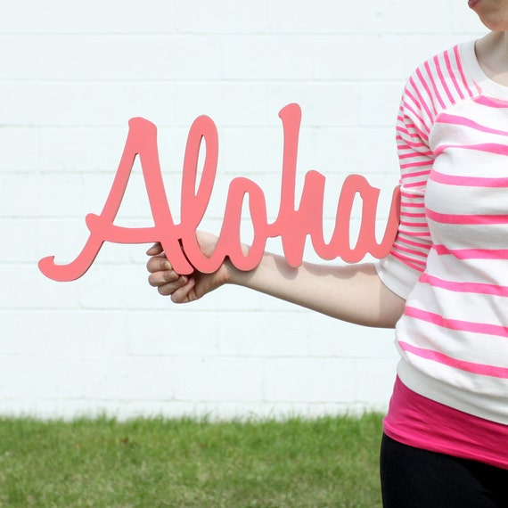 aloha handmade wood sign in any color - wall decoration for vintage or modern entryway decor