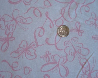 New pink butterflies on white baby cotton rib knit fabric 1 yd