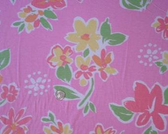 New pretty flowers on pink cotton lycra knit fabric 1 yard