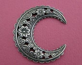 NEW Medium Silver Floral Crescent Finding 3522M