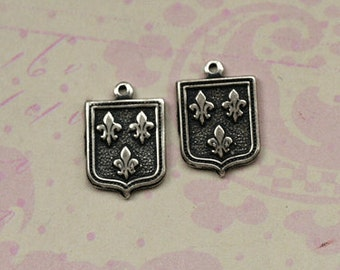 2 Silver French Heraldic Charms 1687
