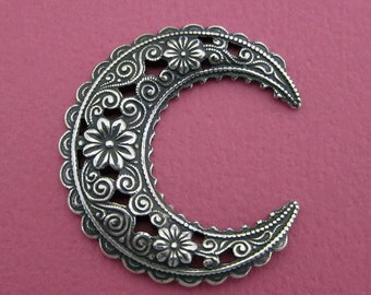 NEW Large Silver Floral Crescent Finding 3522L