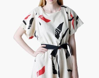 Vintage Belted Graphic Dress