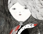 Original Illustration - Girl Painting - The Swan