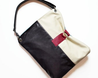 Womens Leather Bag Crossbody, Leather Womens Day Bag, Crossbody Leather Laptop Bag - The Luella Bag in Dark Slate Grey and Cream