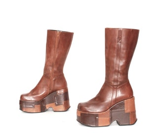 size 7.5 PATCHWORK brown leather 80s 90s CHUNKY PLATFORM zip up boots