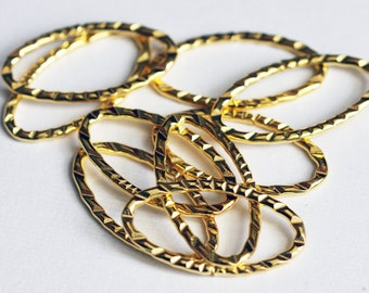 20 pcs of gold plated hammered Oval  Links 30X17mm