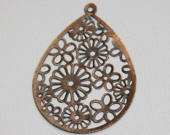 10 pcs of Antiqued Copper stamped teardrop 40x53mm small details