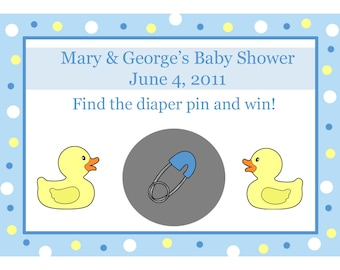 24 Personalized Baby Shower Scratch Off Game Cards Blue Rubber Ducky