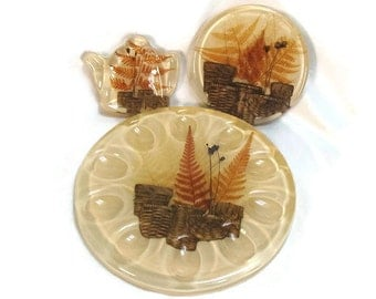 Vintage Resin Kitchen Set Colorflo Baskets and Ferns
