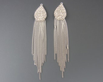 Long Silver Rhinestone Chain Fringe Earring Drop, Dressy Bridal Wedding Special Occassion Jewelry Findings |S16-11|2