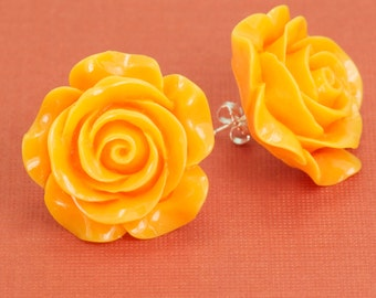 Large Golden Yellow Rose Post Earrings 30mm set on Sterling Silver