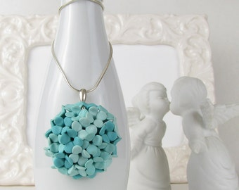 CLEARANCE! - Blue Hydrangea Pendant with Chain - Polymer Clay & Sterling Silver