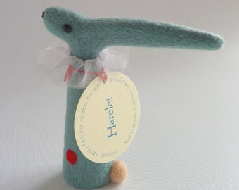 Needle felted hare, felted hare, needle felt hare,  hare ornament, needle felt animal,  hare model, needle felt hare, circus hare