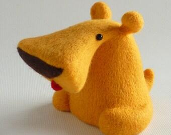 Custard needle felt dog designed by Gretel Parker