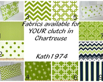 Fabric choices in Chartreuse for Fold Over Envelope Clutches - Bridesmaid Clutches - Custom Clutches-Premier Prints - Ad only (NOT FOR SALE)