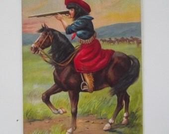 Vintage Cowgirl Postcard Antique