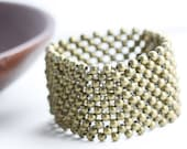 Woven Bead Cuff Bracelet - a cuff of woven beads in antique brass or silver toned metal (B19)