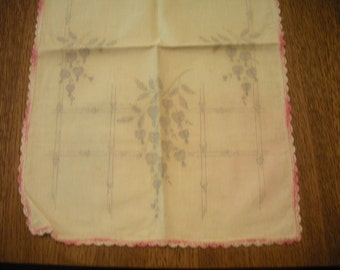 Vintage White or Off White Bleeding Heart Table Runner Dresser Scarf TO BE FINISHED Pink Crocheted Edge