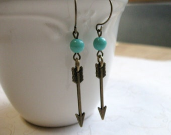 Brass arrow earrings, turquoise glass beads, tribal earrings, arrow charms