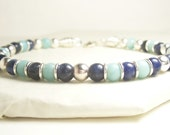 Men's Sodalite and Amazonite Leather Bracelet with Sterling Silver