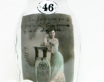 Wedding Gift, Under 25 Dollars, Gift for her, Vintage Postcard, Glass Jar, Tarjeta Postal, ESPANA, Senorita, Romanitic Decor, Boho Chic