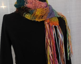 Multi Colored Handknit Handspun Wool Scarf In Every Shade Under The Rainbow