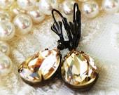 Light Silk, Champagne Swarovski Crystal Earrings, Bridesmaid Gift, Birthday, Everday Jewelry
