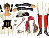 3 PIRATE  PAPER DOLLS Lady Bucaneer instant 4 sheets Digital download PrintablePapercrafts Scrapbook Cardmaking