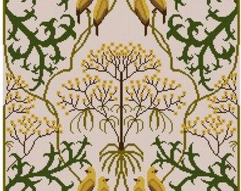 Fool's Parsley by Charles Voysey 1907 cross sttich pattern pdf Floral Botanical pattern Goldfinch
