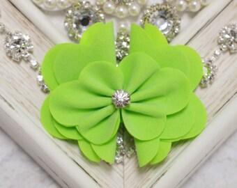 New! 2pcs Handmade Suede flowers--apple green (SD101)