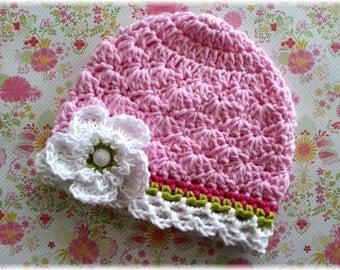 Spring Jubilee 2-Pink Crochet Hat-Hot Pink-Lime Stripe-White Trim-Crochet Flower Clip-Vintage Inspired-Toddler Hat-Baby-Colorful M2M Hat