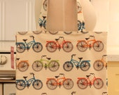 Book Bag Tote Purse - Retro Bicycles Bikes
