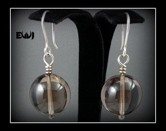 Smoky Quartz Crystal Ball Earrings Wire Wrapped with Fine Silver