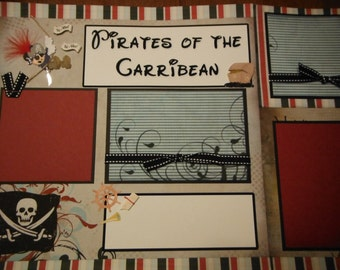 Disney Pirates of the Caribbean Premade 12x12 Scrapbook Pages for Family Vacation Cruise Bahamas