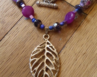 Purple Leaf Necklace Gift for HER