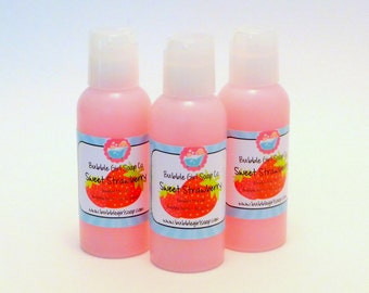 Sweet Strawberry Body Wash Bubble Bath Shower Gel 2 Oz. Travel Size Bubble Me Up by Bubble Girl Soap Co.