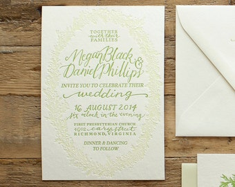 wedding letterpress invitation flora