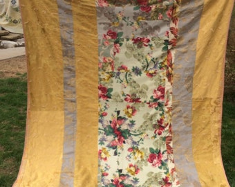 Vintage Hand Tied Machine Quilted Bark Cloth Era and Satin Fabric Quilt