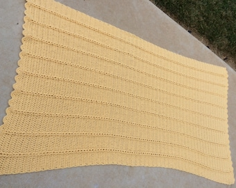 Reserve for Beth Vintage Hand Crochet Solid Butter Yellow Afghan/Lap Throw