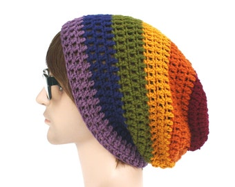 Dark Muted Rainbow Beanie - Slouch - Mens or Unisex- Ultimate Slacker Striped Beanie Hat- Pride