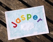 Personalised new baby name rainbow card