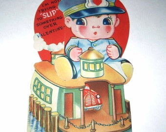Vintage Fold Out Children's Novelty Valentine Greeting Card with Boy and Ship or Ferry