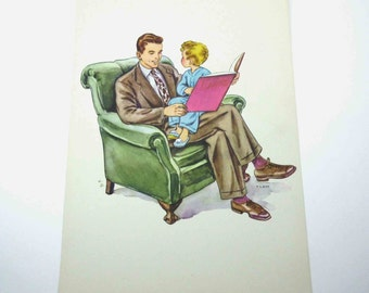 Vintage 1950s Over Sized School Picture Card or Poster with Little Boy and Dad Reading a Book