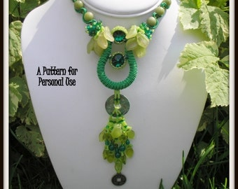 Beading kit and pattern - If Money Grew On Trees Necklace - Seed Bead & Soutache Necklace and Pendant Kit by Hannah Rosner