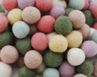 100% Wool Felt Balls - 1.5cm - 100 Count - Pastel Colors