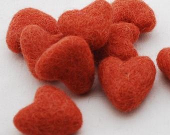 3cm 100% Wool Felt Hearts - 10 Count - Deep Carrot Orange