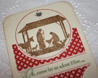 Christmas Bookmark - Nativity Silhouette - Vintage Style
